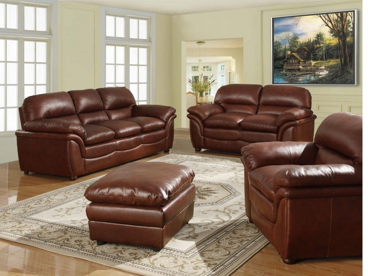 Fabulous Brown 3 2 1 Seater Sofa Soft Leather And Footstool Theyellowbook Wood Chair Design Ideas Theyellowbookinfo