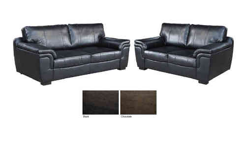 New 3+2 seater sofa suite brown black leather