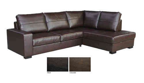 Brown black leather 3 seater corner chaise sofa suite