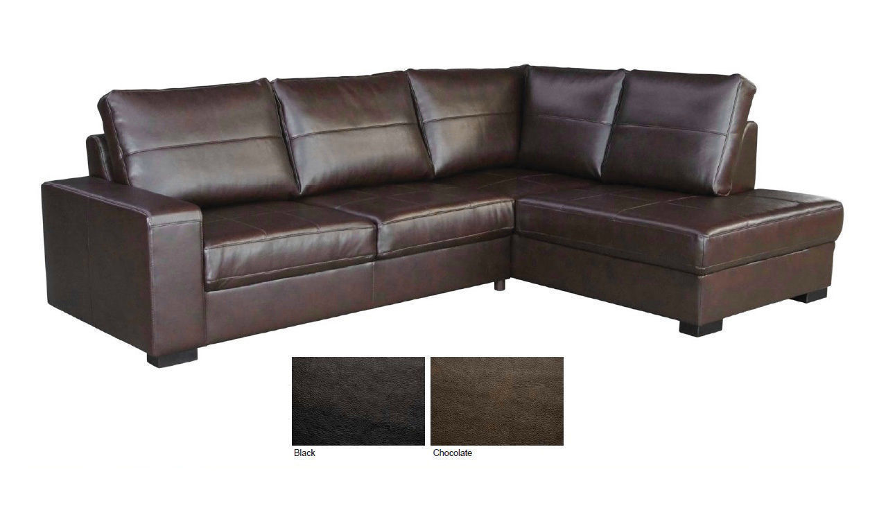 Brown black leather 3 seater corner chaise sofa suite for Brown leather chaise