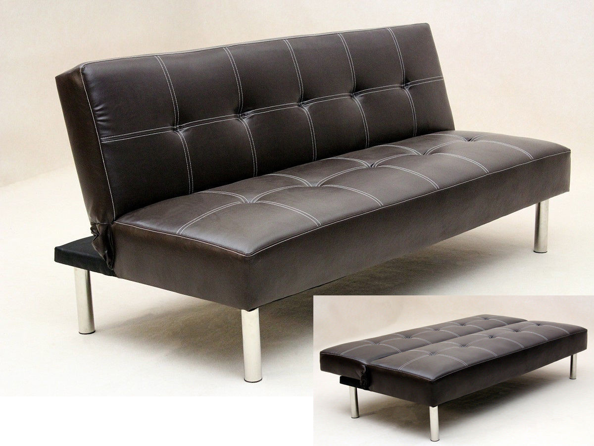 Faux leather 3 seater sofa bed brown black homegenies for Divan and settee