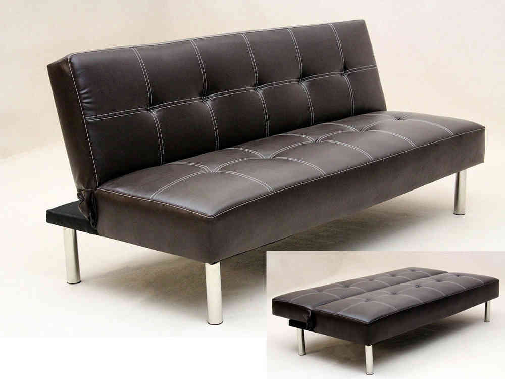 Faux leather 3 seater sofa bed brown black