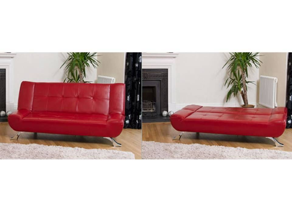 3 seater leather sofa bed in black, brown, red, ivory