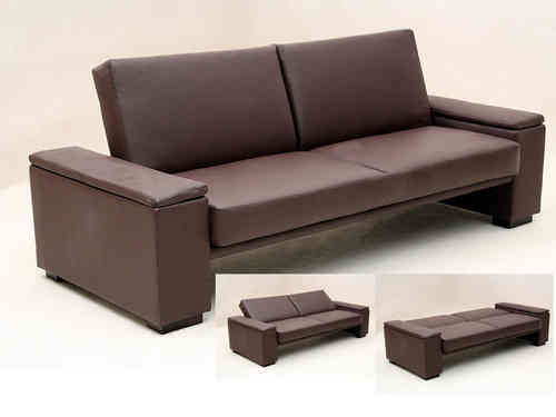 Brown or black faux leather sofa bed