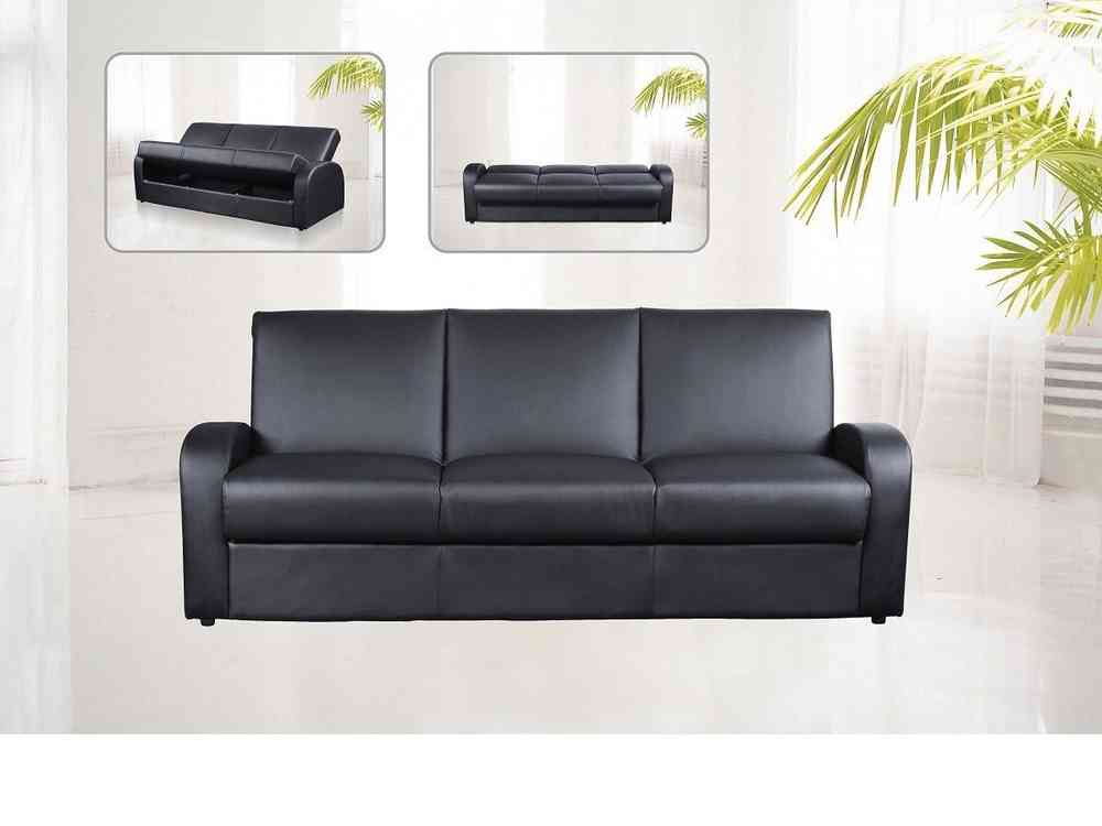 Faux Leather 3 Seater Sofa Bed Black Brown Cream Homegenies