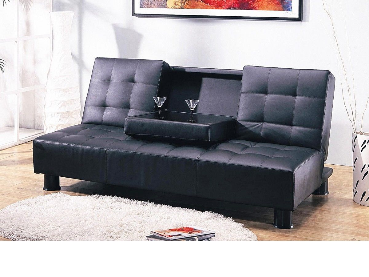 Modern Faux Leather Sofa Bed Choices Black Or Brown Homegenies