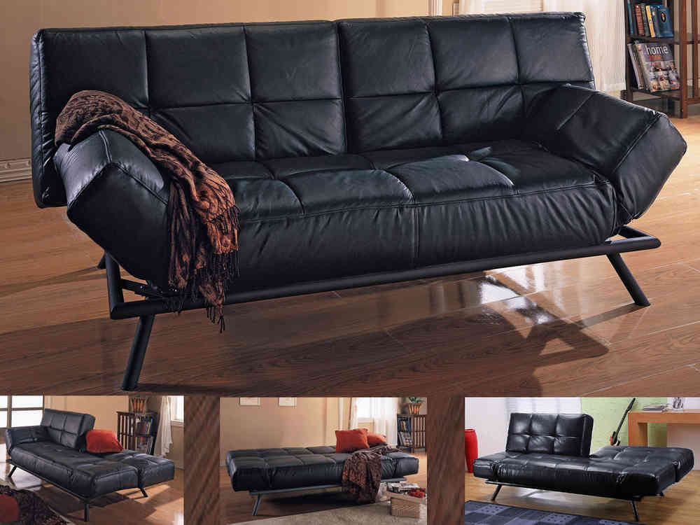 Faux Leather Sofa Bed In Black Or Brown, Brown Fabric Leather Sofa Bed