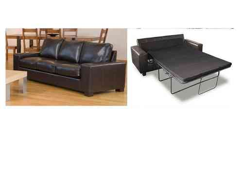 Leather 3 seater sofa bed in black, brown, red, ivory