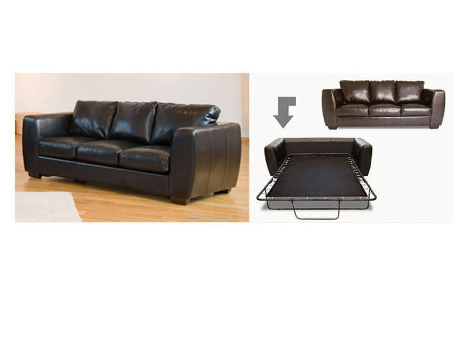 Double leather bed in black, brown, red, ivory - Homegenies