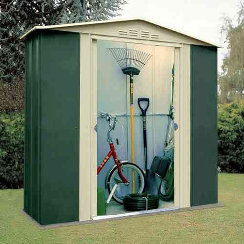 6 x 3ft Apex Metal Garden Shed in green and cream