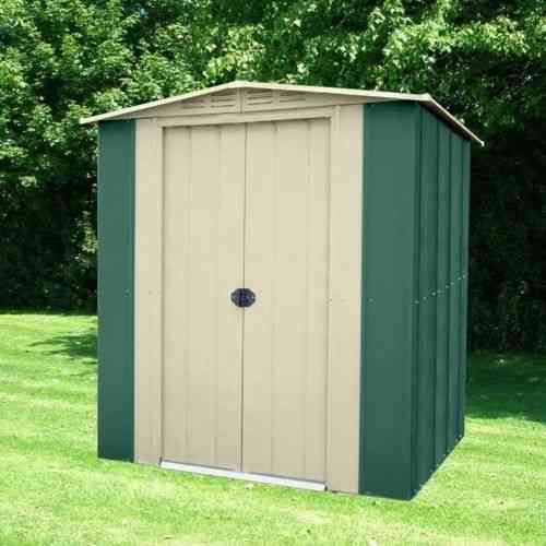 Metal apex garden shed 6 x 4ft in green and cream