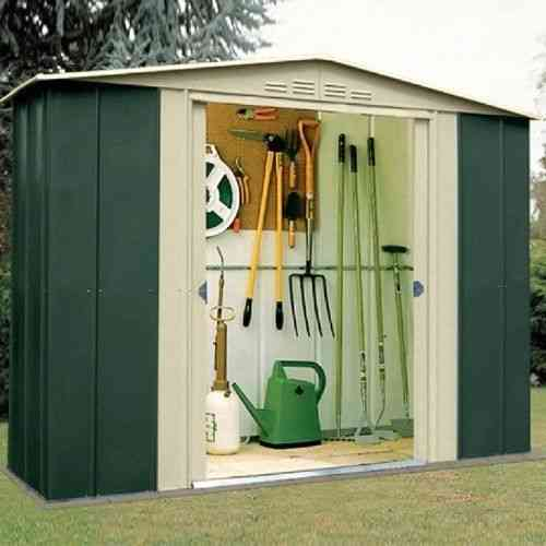 Metal Apex 8 x 3ft Garden Shed Green & Cream