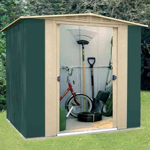 Metal Apex Garden Shed 6 x 7ft in Green and Cream