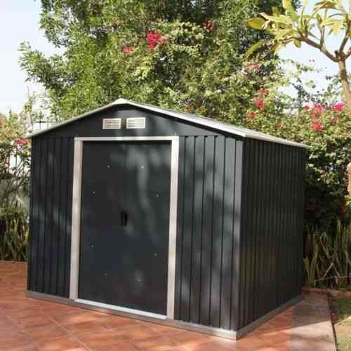 Metal Apex Garden Shed 8 x 6ft in Grey and White