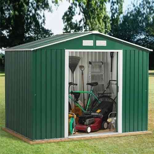 8 x 6ft metal garden shed with Apex Roof