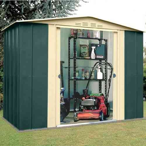 Metal apex garden shed 8 x 6ft in green and cream