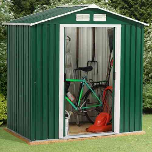 Metal garden shed 6 x 8ft in green and white with apex roof