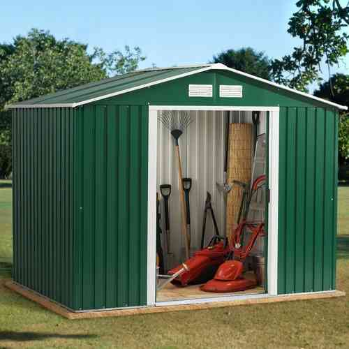 Metal garden shed 8x8ft in green and white with apex roof