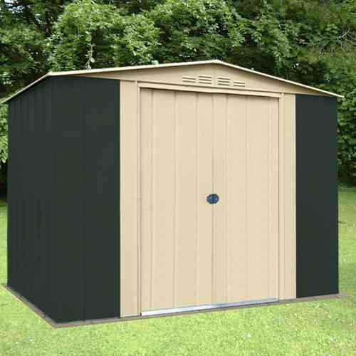 Metal apex garden shed 8x9ft in green and cream