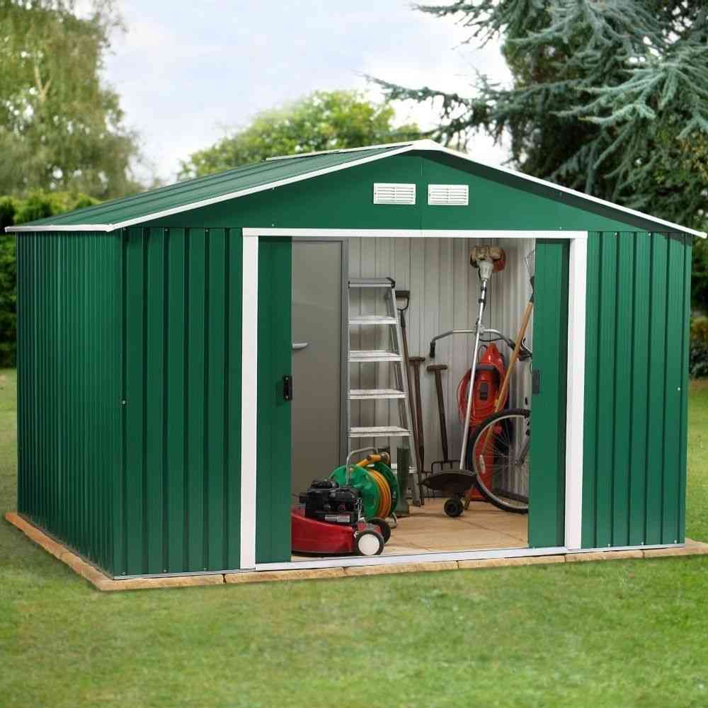 Metal Garden Shed 10x8ft In Green And White With Apex Roof