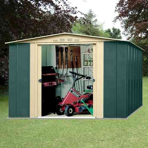 Metal apex garden shed 10x7ft in green and cream