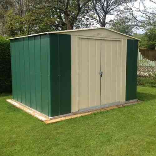 metal apex garden shed 10 x 9ft in green and cream