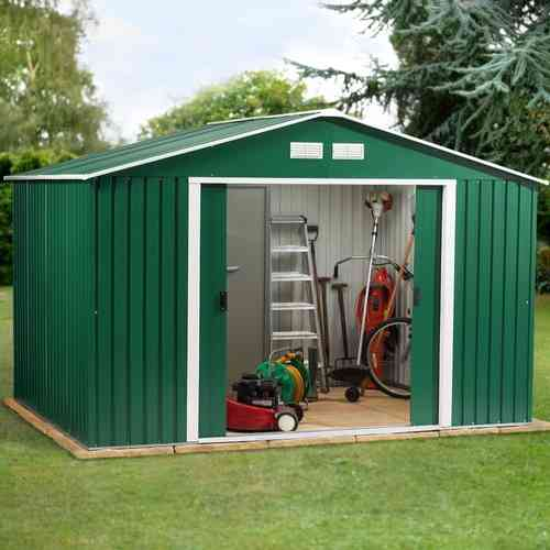 Metal garden shed 10 x 12ft in green and white with apex roof