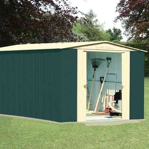 Metal apex garden shed 10x13ft in green and cream