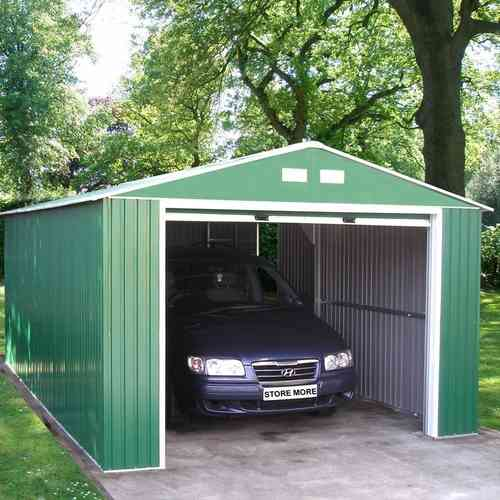 large metal apex garage 12 x 20ft in green and white