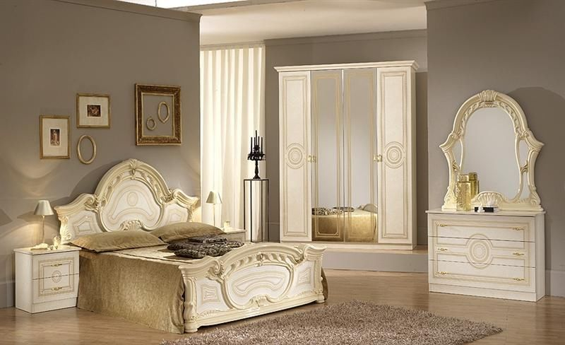 Italian Beige High Gloss Bedroom Furniture Set Homegenies