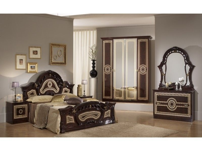 Italian Mahogany High Gloss Bedroom Furniture Set Homegenies