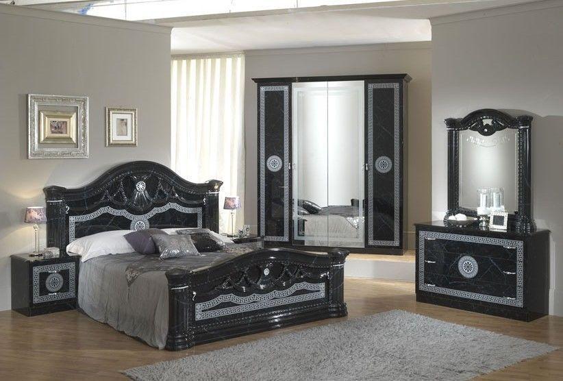 Black italian high gloss bedroom furniture set