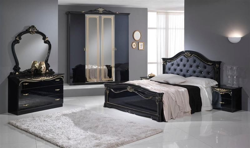 Stylish black italian high gloss bedroom furniture for Chambre a coucher de luxe