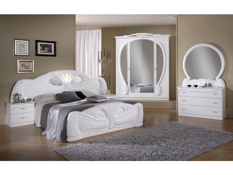 White italian high gloss bedroom furniture set homegenies for High gloss bedroom furniture