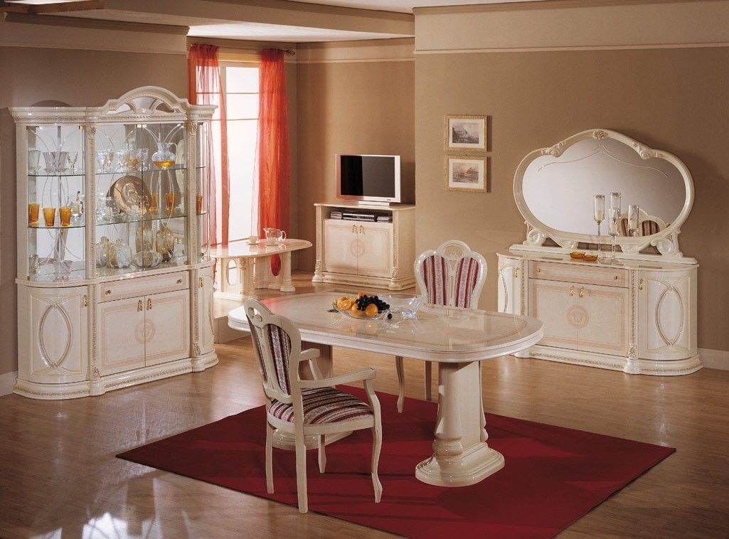 Italian Full Furniture Sets High Gloss Dining Table And Chairs In Beige