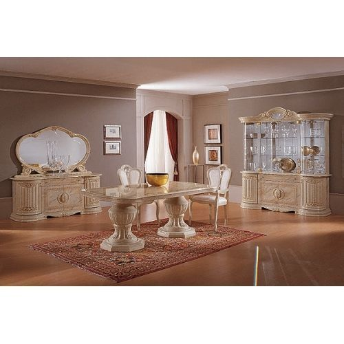 Beige Italian Furniture Sets High Gloss Dining Table And Chairs Set
