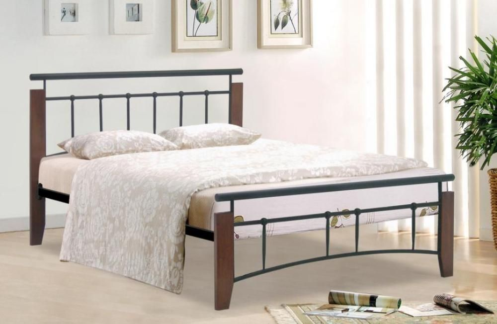 Metal classic bed frame in silver or black with slats -Homegenies