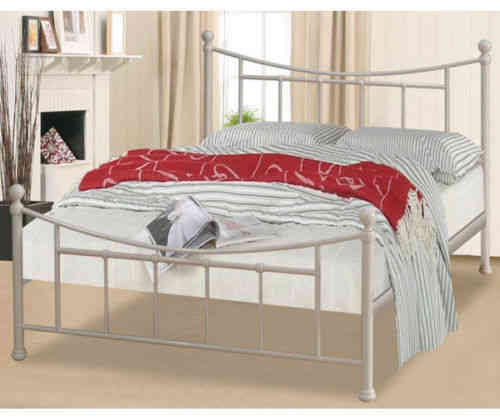 Dark gun, ivory 3', 4'6, 5' metal bed frame, single, double, king with slats