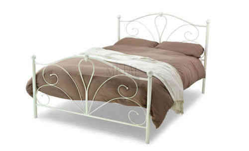 Black or ivory metal bed frame single, double, 3 foot,4' foot 6