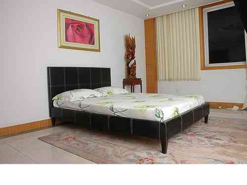 Faux leather bed single double king black brown cream