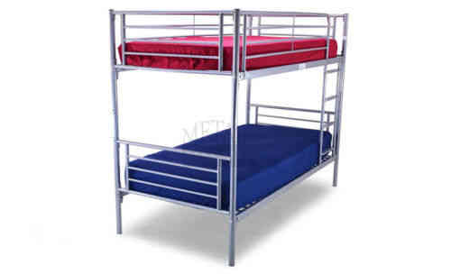 Silver 3ft kids metal bunk bed with slats