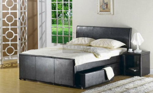 Brown faux leather divan bed single double king homegenies for 4 foot divan beds for sale