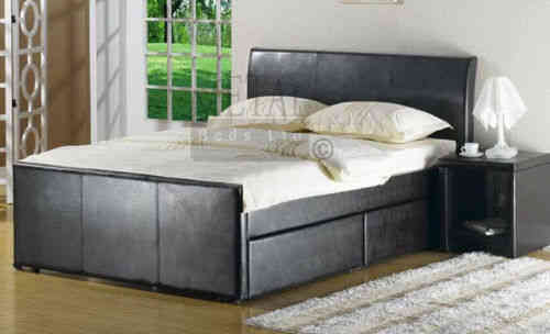 Brown Faux leather divan bed single, double, king