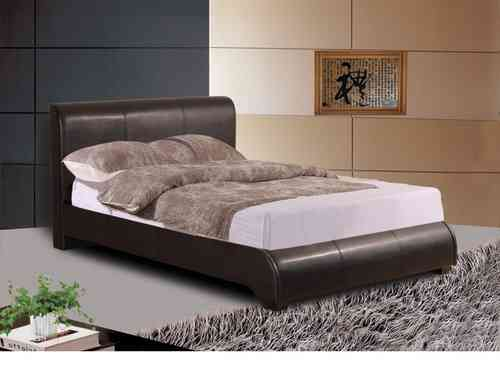 Faux leather bed frame available in brown black