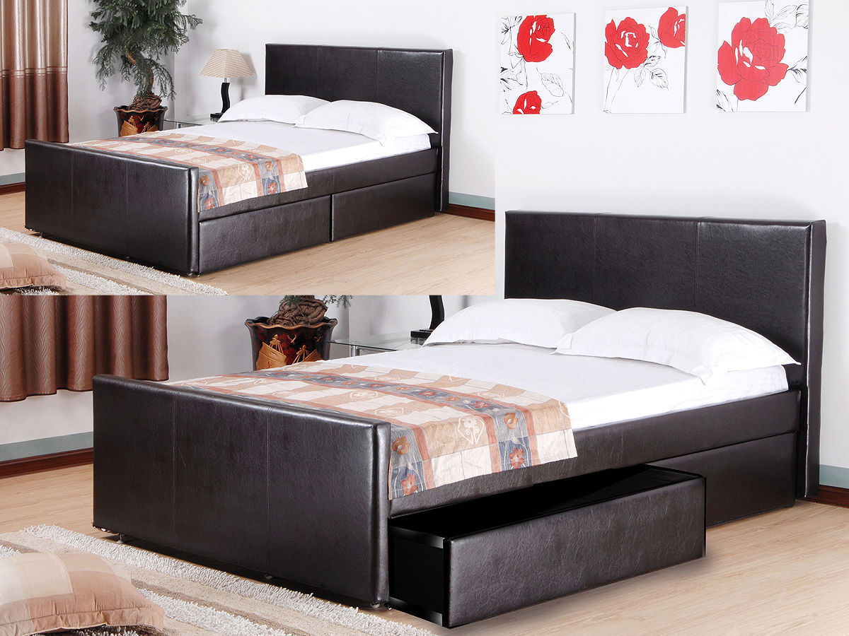 Faux Leather Bed With 2 Storage Drawers In Brown Homegenies