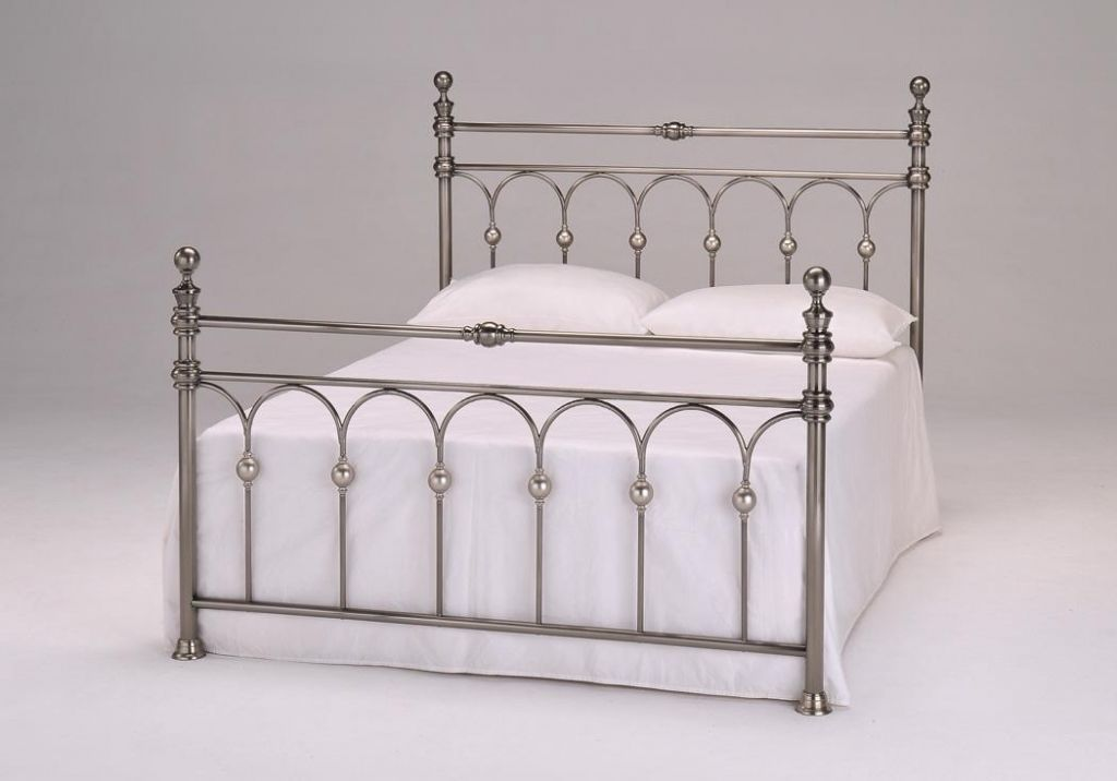 Brushed Nickel King Size Headboard: 4'6 Double Metal Bed Frame Brushed Nickel With Slats