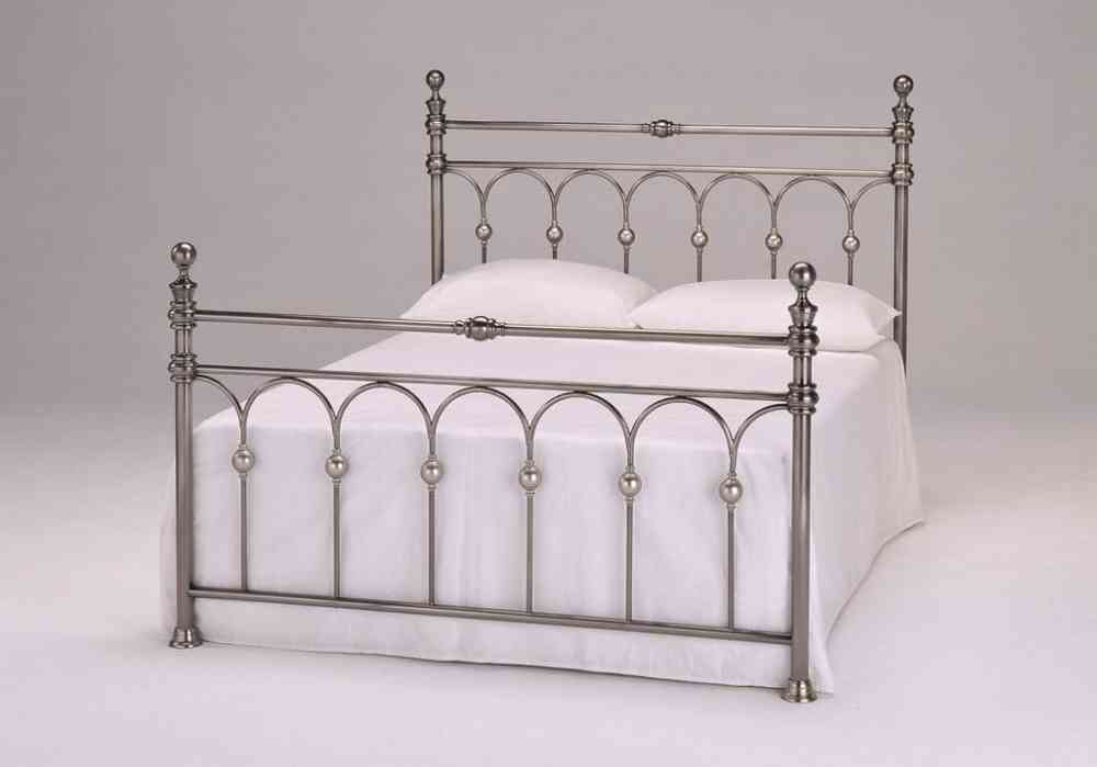 4\'6 double metal bed frame brushed nickel with slats - Homegenies