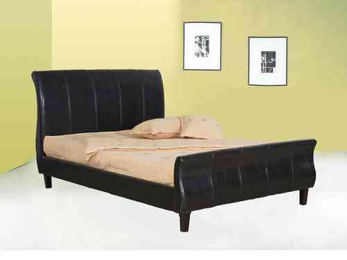 Double,king size faux leather bed in brown, black