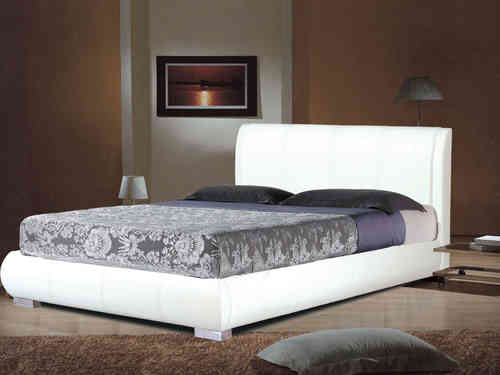 White faux leather bed in double or king