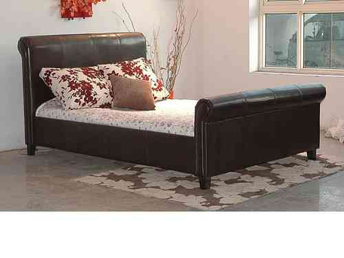 Faux leather bed in double or king, brown, black